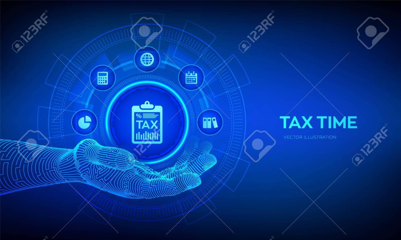 147404176 tax icon in robotic hand concept tax payment data analysis financial research report and calculation